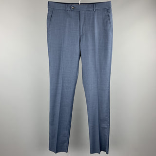 NEIMAN MARCUS Size 33 Steel Blue Wool Zip Fly Dress Pants