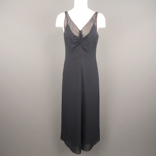 ARMAND VENTILO Size 4 Navy Silk Chiffon V Neck Sleeveless Maxi Dress