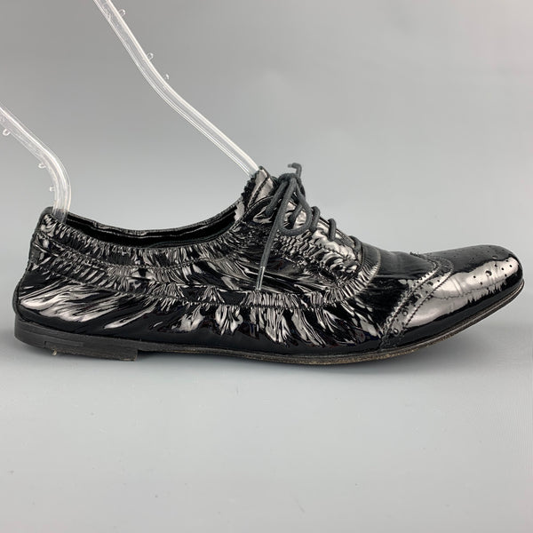 MIU MIU Size 7.5 Black Patent Perforated Leather Oxford Brogues