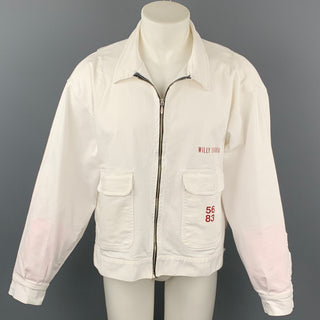 WILLY CHAVARRIA Size L White Cotton Zip Up Jacket