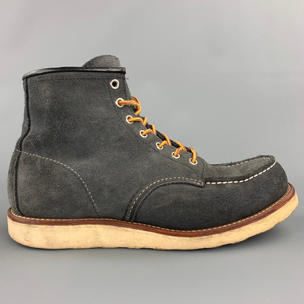 RED WING Size 9 Charcoal Contrast Stitch Suede Worker Boots