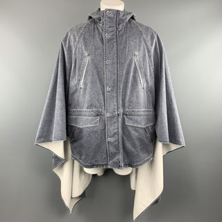 3.1 PHILLIP LIM S Washed Denim Look Cotton Hooded Cape Parka