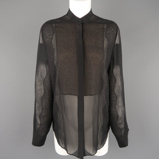 3.1 PHILLIP LIM Size S Black Silk Chiffon Lace Panel Band Collar Blouse