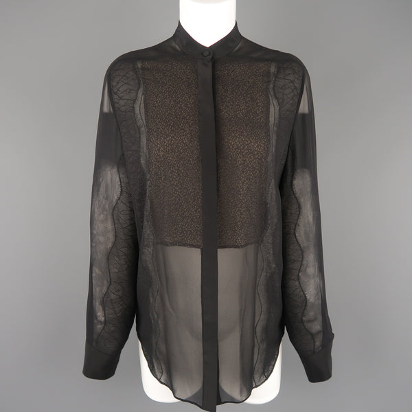 3.1 PHILLIP LIM Size S Black Silk Chiffon Lace Panel Band Collar Blouse - Sui Generis Designer Consignment