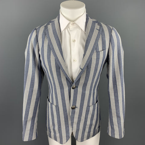 BRILLA Size 36 Navy & White Stripe Cotton Blend Notch Lapel Sport Coat