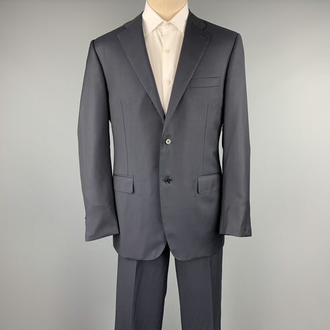 CANALI Size 42 Long Navy Wool Notch Lapel Suit