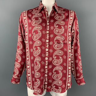 GIORGIO ARMANI Size L Burgundy & White Paisley Silk Button Up Long Sleeve Shirt
