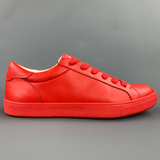 COACH Size 10 Red Leather Low Top Lace Up Sneakers