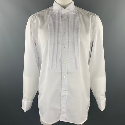 FAIRFAX for BARNEY'S NY Size M White Pleated Cotton French Cuff Long Sleeve Shirt