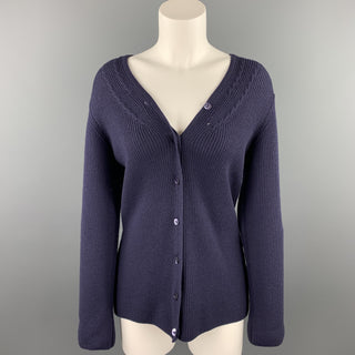 JAEGER Size M Navy Ribbed Merino Wool Buttoned Cardigan