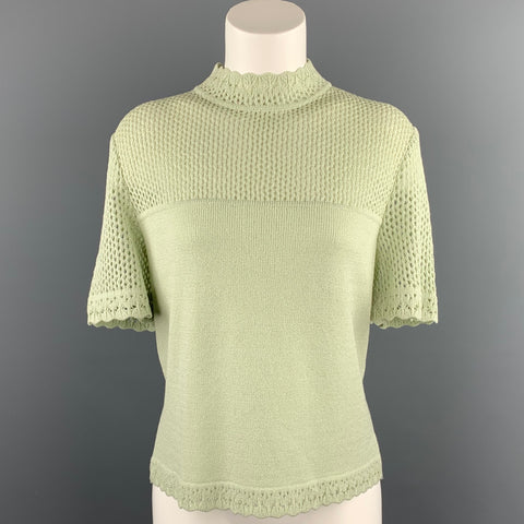 ST. JOHN Size M Green Knit Short Sleeve Top