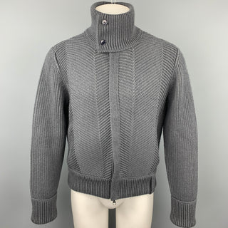 LOUIS VUITTON Size M Gray Knitted Wool Blend Zip Up High Collar Jacket