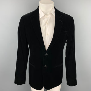 GIORGIO ARMANI Soho Size 40 Black Velvet Notch Lapel Sport Coat