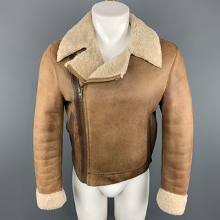 MIU MIU Chest Size 36 Tan Distressed Biker Jacket