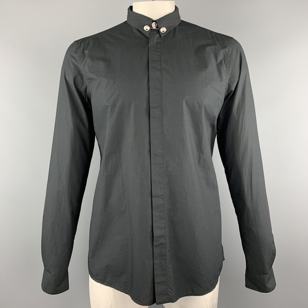 VERSUS by GIANNI VERSACE Size M Black Solid Cotton Long Sleeve Shirt