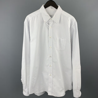 PRADA Size XL White & Blue Pinstripe Cotton Button Down Long Sleeve Shirt