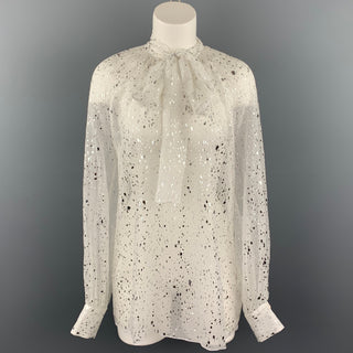 MSGM Size 8 White & Silver Metallic Splatter Silk Bow Collar Blouse