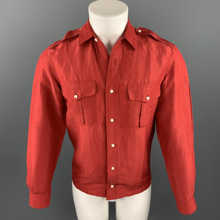 RALPH LAUREN Black Label Size S Red Linen / Silk Button Up Long Sleeve Shirt