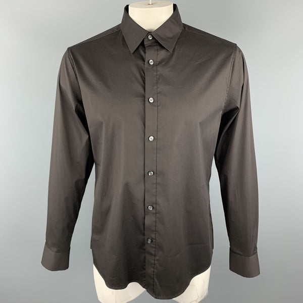 THEORY Size L Black Cotton Blend Button Up Long Sleeve Shirt