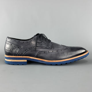 MELVIN & HAMILTON 10 Navy Antique Leather Wingtip Lace Up EDDY Brogues