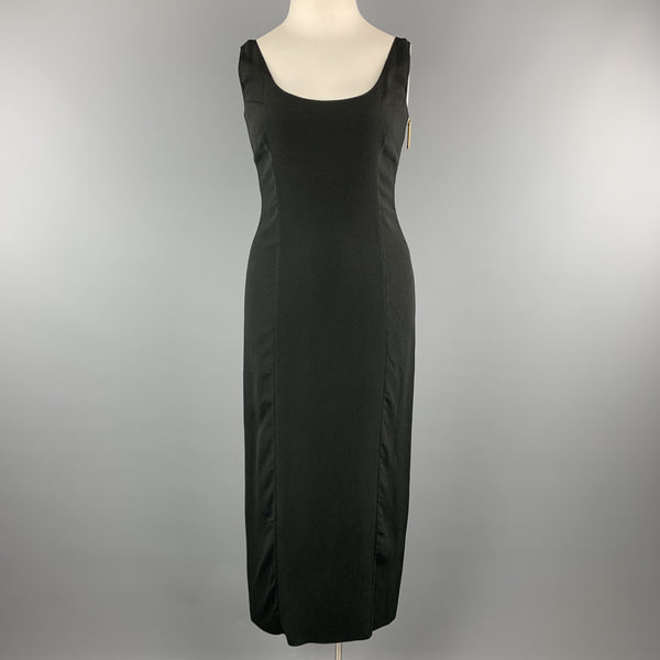 GIANFRANCO FERRE Size 8 Black Crepe Scoop Neck Zip Maxi Dress