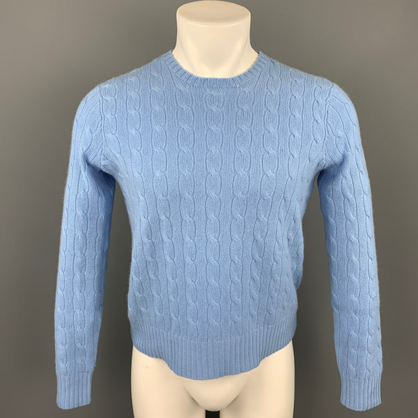 POLO by RALPH LAUREN Size S Light Blue Cable Knit Cashmere Crew-Neck Sweater