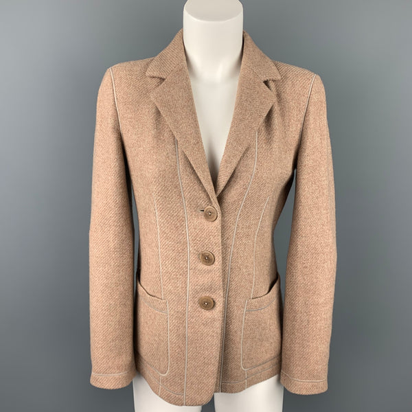 GIORGIO ARMANI Size 0 Taupe Textured Cashmere Blend Notch Lapel Buttoned Jacket