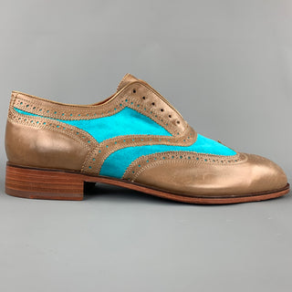 FLORSHEIM for DUCKIE BROWN Size 11 Taupe & Aqua Perforated Leather Wingtip Shoes