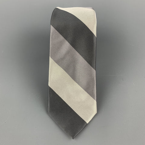 BAND OF OUTSIDERS Silver & Gray Striped Silk Skinny Tie