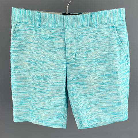 MR TURK Size 30 Blue & White Knitted Viscose Blend Zip Fly Shorts