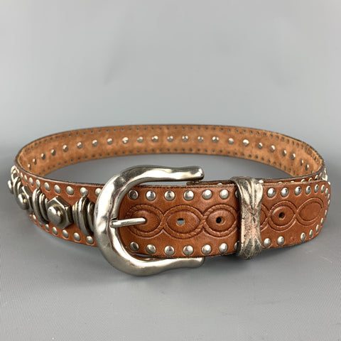 NANNI Size 36 Tan & Silver Studded Leather Metal Belt