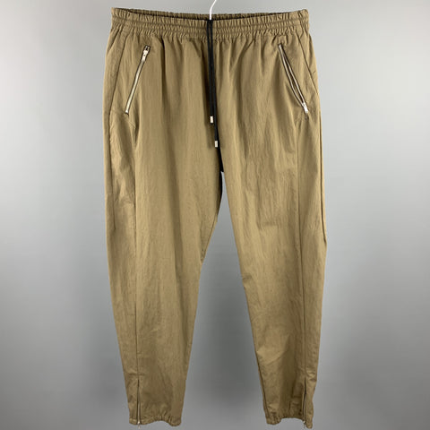 TIM COPPENS Size XL Olive Cotton / Polyamide Casual Pants