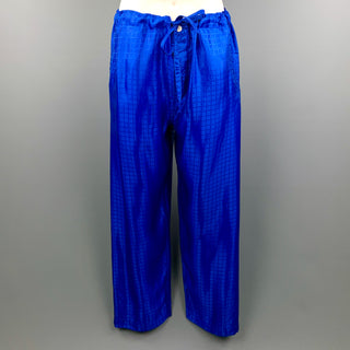 COMME des GARCONS HOMME PLUS Size S Royal Blue Window Pane Drawstring Casual Pants