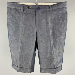 THE SUIT COMPANY Size 30 Indigo Linen / Cotton Zip Fly Shorts