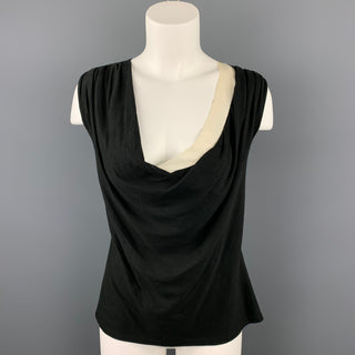 AGNONA Size 10 Black & White Flax V-Neck Casual Top