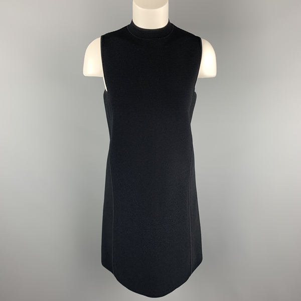 RALPH LAUREN Size S Navy Ribbed Knit Viscose Blend Mock Neck A Line Dress