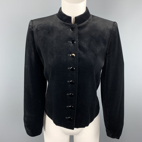 YVES SAINT LAURENT Vintage Size 6 Black Velvet Band Collar Jacket
