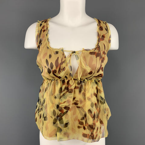 MISSONI Size 2 Yellow Leaf Print Silk Pleated Sleeveles Blouse