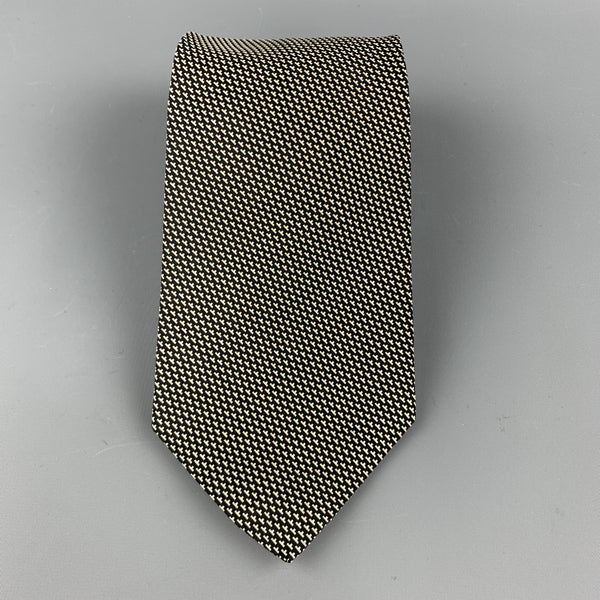 RALPH LAUREN Black & White Print Silk Thick Tie