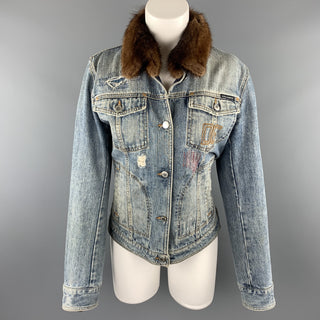 DOLCE & GABBANA Size 10 Blue Denim Fur Collar Trucker Jacket