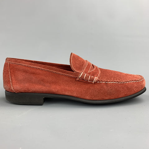 BATTISTONI Size 7.5 Brick Contrast Stitch Suede Slip On Penny Loafers