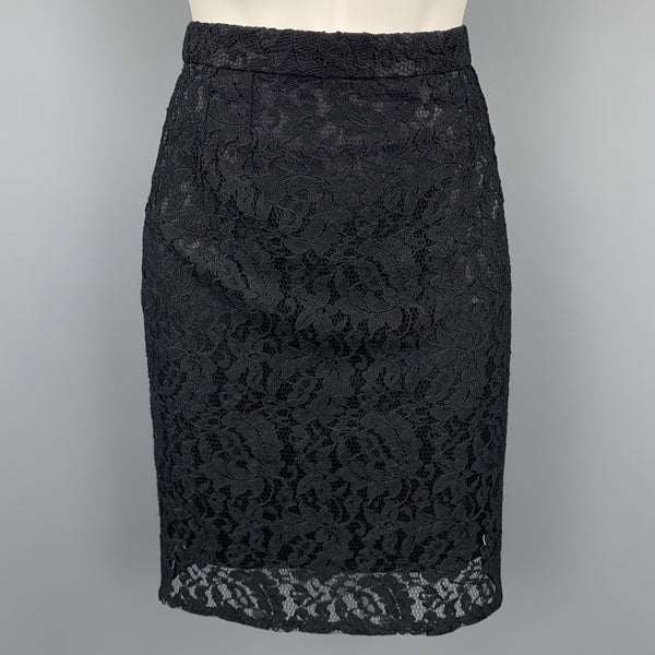 DOLCE & GABBANA Size 4 Black Lace Pencil Skirt