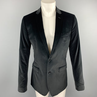 DOLCE & GABBANA Size 40 Black Cotton Notch Lapel Sport Coat