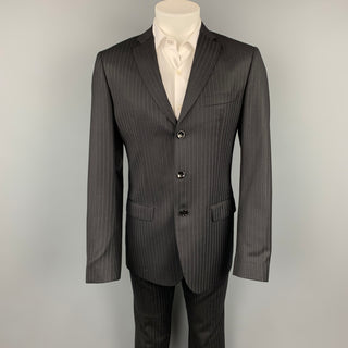 D&G by DOLCE & GABBANA Size 40 Regular Black Stripe Wool Blend Notch Lapel Suit