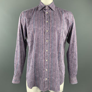 ETRO Size XL Lavender Stripe Cotton Button Up Long Sleeve Shirt
