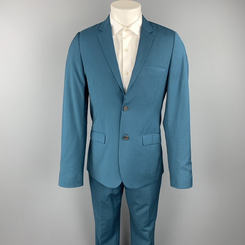 CALVIN KLEIN COLLECTION Size 36 Wool Notch Lapel Teal Suit