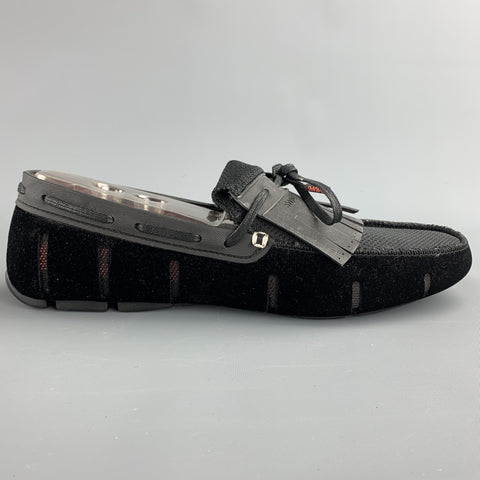 SWIMS Size 11 Black Mixed Materials Velvet Drivers Loafers