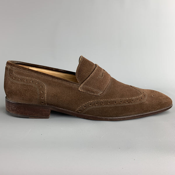 MERCANTI FIORENTINI Size 12 Brown Perforated Suede Wingtip Loafers