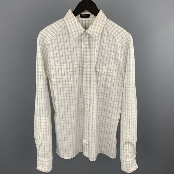 NEIL BARRETT Size L White & Grey Plaid Cotton Button Up Long Sleeve Shirt