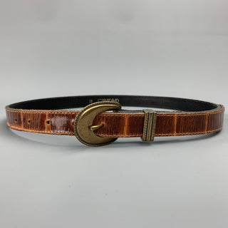 JOAN&DAVID Size M Embossed Brown Leather Skinny Belt